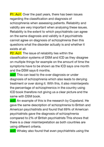 Preview of Discuss issues associated with the classification and/or diagnosis of schizophrenia