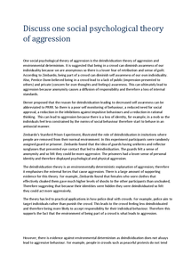 Preview of Discuss one social psychological theory of aggression - deindividuation theory of aggression and environmental determinism