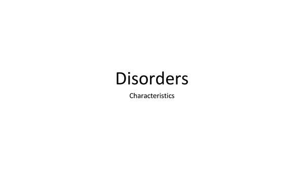 Preview of Disorders G543
