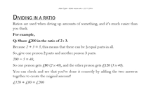 Preview of Dividing into ratios