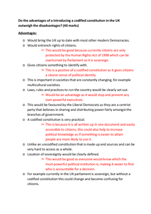 Preview of Do the advantages of introducing a codified constituion in the UK outweigh the disadvantages