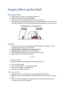 Preview of Doppler Effect and Red Shift revision notes