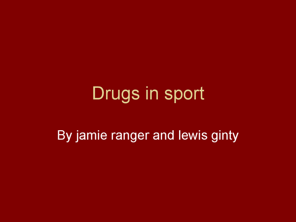 Preview of drugs in sport