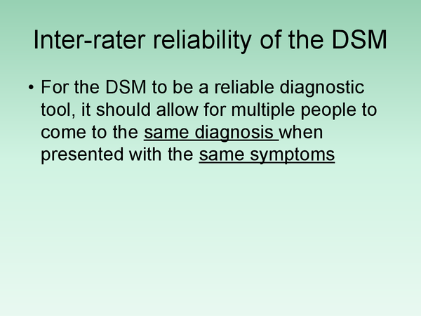 Preview of DSM - Evaluation in terms of Validity and Reliability