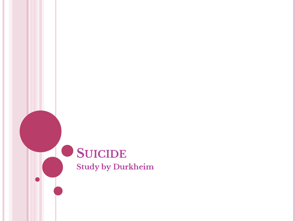 Preview of durkheims study of suicide and respones and the theortical implications of the study