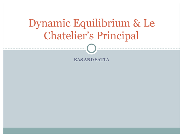 Preview of Dynamic equilibrium and le Chatelier's principle