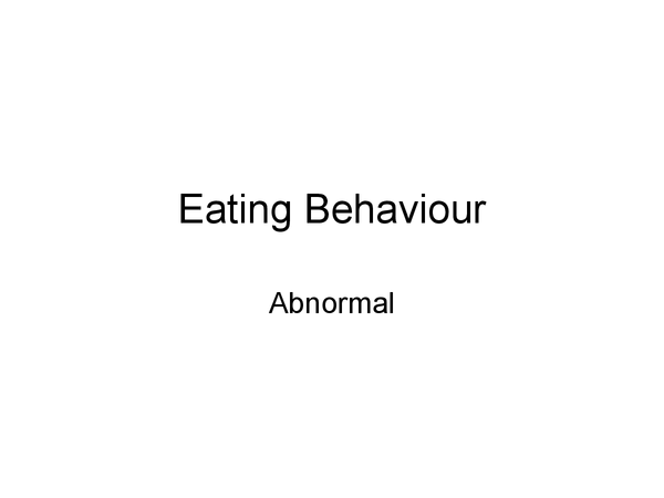 Preview of Eating behaviour
