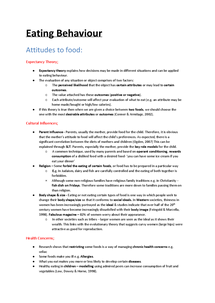 Preview of Eating Behaviour Notes