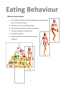 Preview of Eating Behaviours Revision Booklet