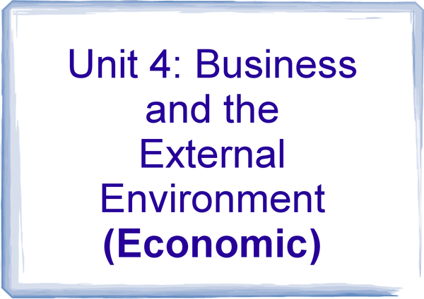 Preview of Economic factors for Business and the External Environment (AQA Unit 4)