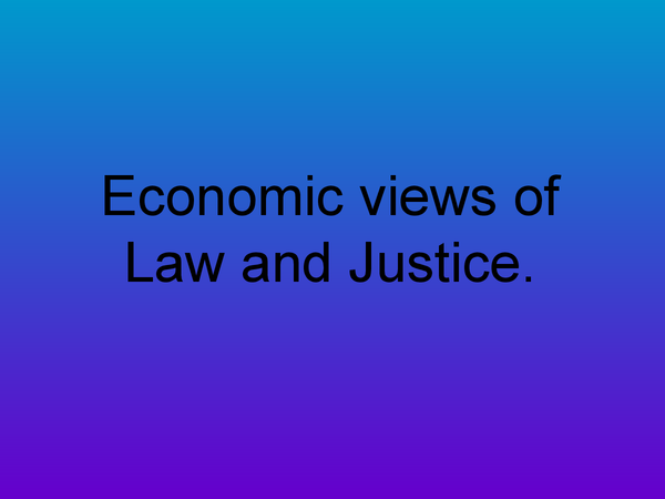Preview of Economic Views of Law and Justice