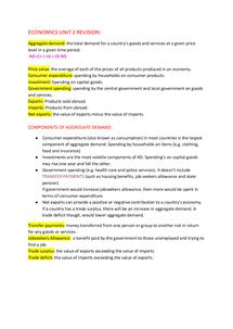 Preview of Economics AS Unit 2 revision