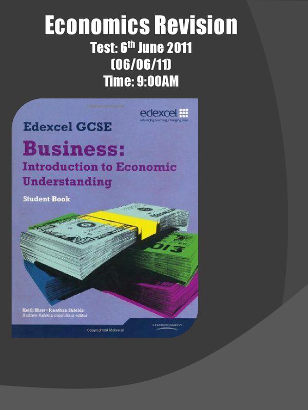 Preview of Economics edexcel GCSE Revision PowerPoint