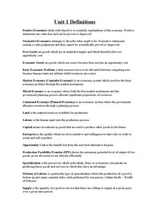 Preview of Economics UNIT 1 Definitions