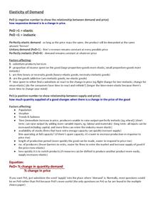 Preview of Economics Unit 1 - Elasticity of Demand