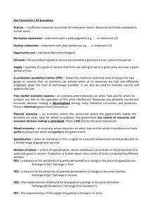 Preview of Economics Unit 1 key terms