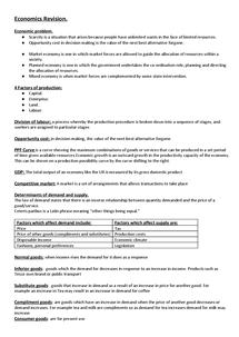 Preview of Economics Unit 1 Revision