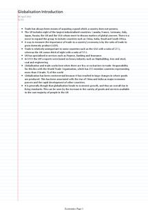 Preview of Economics Unit 3 Globalization Revision OCR GCSE