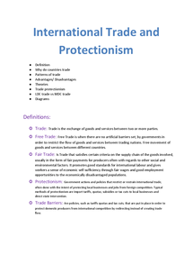 Preview of Economics Unit 4- International Trade and Protectionism (full topic notes)