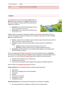 Preview of Ecosystem and sustainability, OCR- Unit 5, module 3