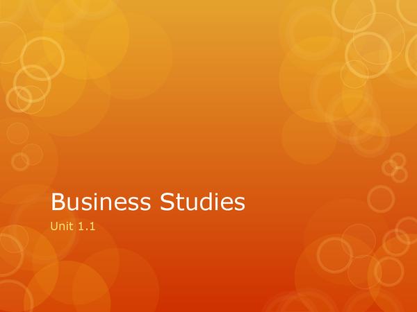 Preview of Edexcel Business Studies Unit 1.1 Revision Notes