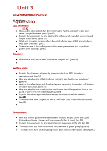 Preview of Edexcel exam questions for unit 3 gov't and pol.