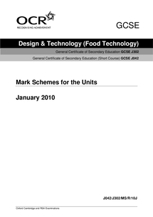 Preview of edexcel food technology markscheme jan 10