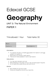 Preview of Edexcel GCSE Geography - Practice Exam Pack (x3)