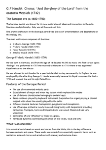 Preview of Edexcel GCSE Music- Overview of Handel piece