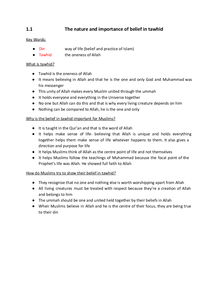 Preview of Edexcel GCSE Religious Studies Islam Section 1 Revision Notes