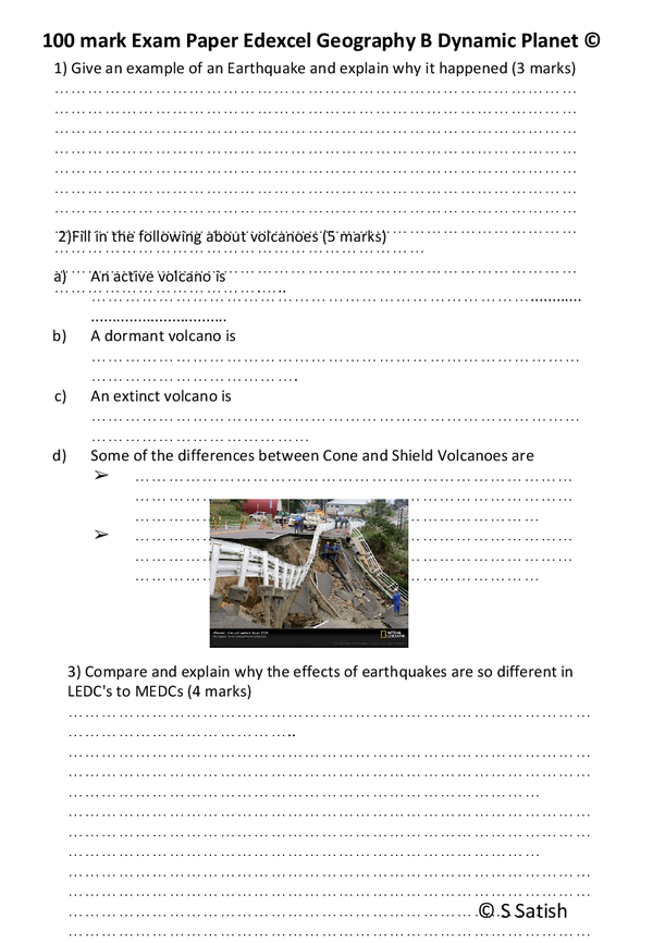 Preview of Edexcel Geography B Unit 1 Dynamic Planet Mock Paper 2 By S Satish