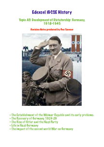 Preview of Edexcel iGCSE History Revison: Development of Dictatorship: Germany, 1918-45