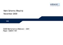 Preview of edexcel maths paper mark scheme unit 3
