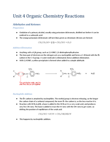 Preview of Edexcel Organic Chemistry Unit 4 Reactions
