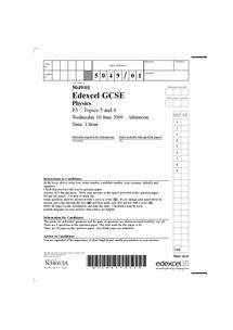 Preview of Edexcel P3 Physics GCSE 2009
