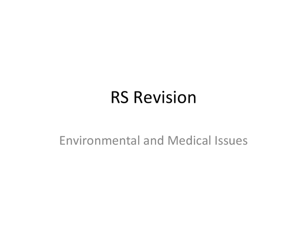 Preview of Edexcel Topic 2 - Environmental and Medical Issues