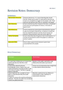 Preview of Edexcel Unit 1 Parties& Democracy Notes