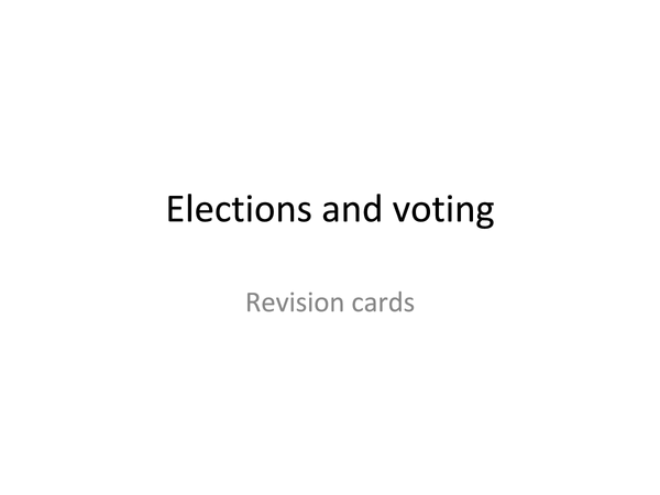 Preview of Elections and Voting revision cards PPT