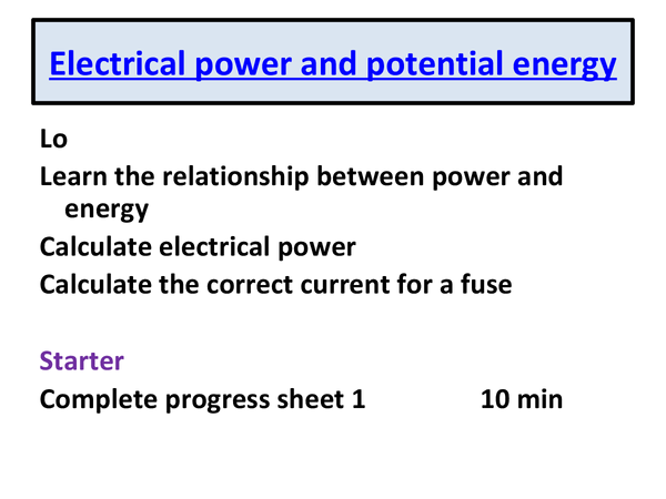 Preview of electrical power and potential difference