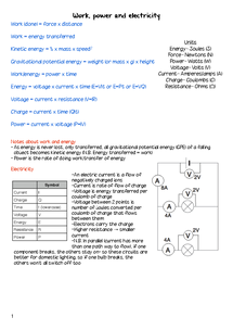 Preview of Electricity, work and energy revision