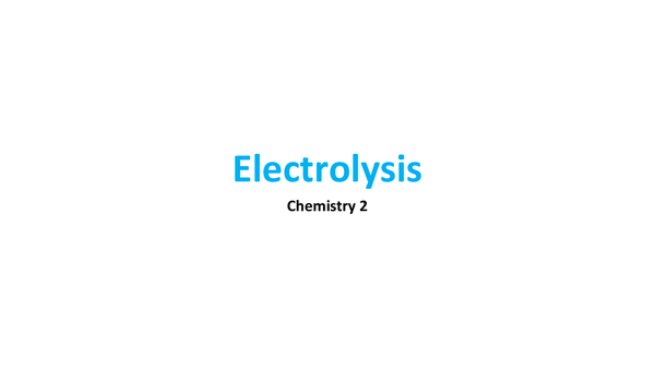 Preview of Electrolysis