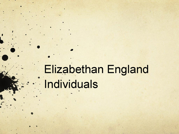 Preview of Elizabethan England Individuals