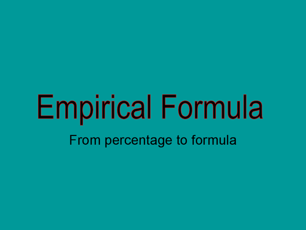 Preview of Empirical Formula