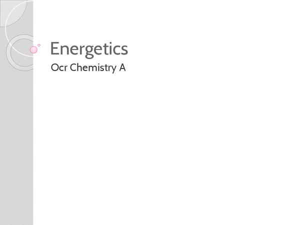 Preview of Energetics