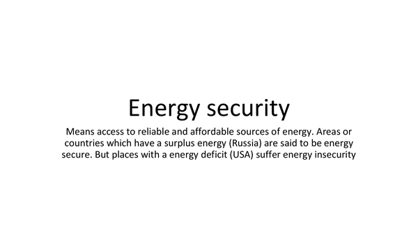 Preview of Energy Security