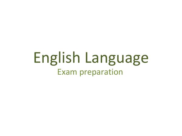 Preview of English Language Exam Preparation