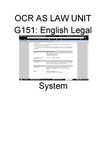 Preview of English Legal System OCR law