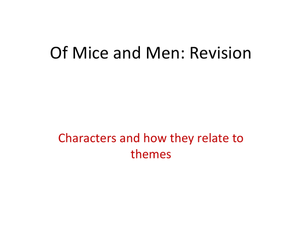 Preview of English Lit - Of Mice and Men