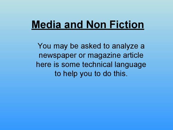 Preview of English: Media and Non fiction.