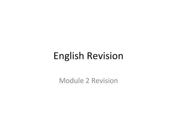Preview of English Module 2 WJEC Notes